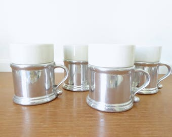 Four Wilton Armetale plough tavern mugs with ceramic inserts, excellent condition