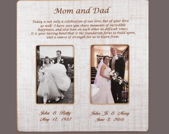In-Laws WEDDING GIFT- PARENTS Gift-Bride Gift to Parents -Groom Wedding Gift to Mom and Dad- Wedding Personalized Picture Frame 12x12overall