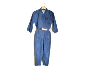 80s POWER Denim Jumpsuit Womens Small Belt Work Coverall 3/4 Sleeve Collared