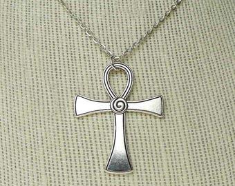 Ankh Necklace, Egyptian Jewelry, Ankh with Spiral Necklace, Egyptian Ankh Necklace, Key of Life Jewelry, Fancy Ankh Jewelry