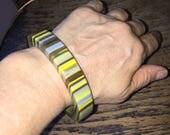 SALE Sobral Bangle Bracelet Vintage Designer Pop Art Handmade Resin Bracelet Bright Yellow Olive Brown and Lavender