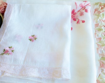 Vintage Shabby Pink Hankies Mismatched Set Of 3/Wedding Hankerchiefs/Tea Party Hankies/Crafters Projects/Shabby Chic Decor