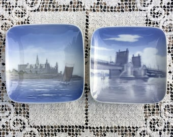 "Denmark 4"" Plates/Royal Copenhagen Dishes/Set of 2 Pin or Butter Plates/ Denmark Blue and White/Hand Painted Danish Scenes/Artist Signed"