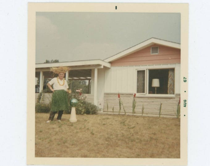 Backyard Hula Skirt Man, 1967: Vintage Snapshot Photo (77594)