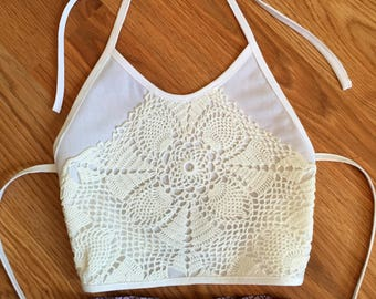 Lace Trimmed Halter Top Made to Order for Girls Size 6 months to 5T in a Choice of White or Ivory