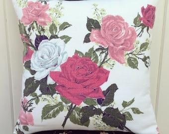 "vintage roses barkcloth pillow cover 16"""