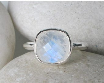 30% OFF Square Moonstone Ring- Moonstone Cushion Ring- June Birthstone Ring- Jewelry Gifts for Her- Sterling Silver Ring- Minimalist Stack R