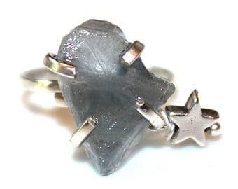 Blue Fluorite Shard Ring Fluorite Ring Star Ring Adjustable Blue Ring Fluorite Jewelry Crystal Ring Raw Stone Ring Silver Star Ring