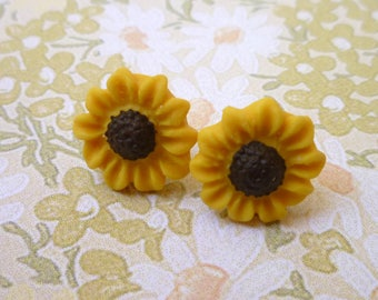 Sunflower Earrings, Sunflower Post Earrings, Girl Birthday Gifts, Handmade clay flower earrings, daughter, granddaughter, niece