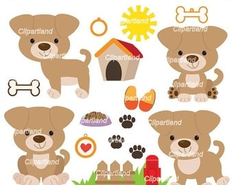 ON SALE INSTANT Download. Cp_6_Puppy. Puppy dog clip art. Personal and commercial use.