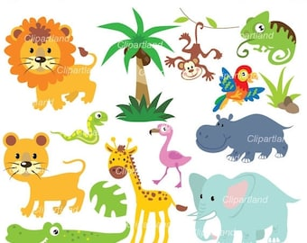 ON SALE INSTANT Download. Jungle animals 15. Personal and commercial use.