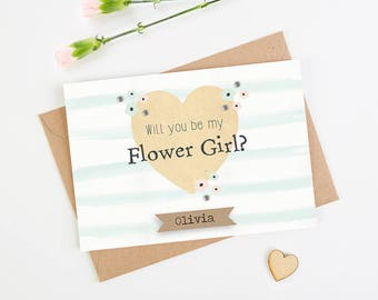 Will You Be My Flower Girl Card - Floral Watercolour Mint Stripe personalised