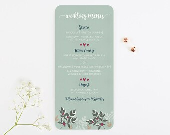 Winter Blossom & Berries Wedding Menu