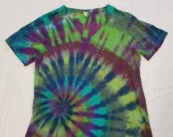 Funky Tie Dye Ladies Vneck T-shirt size XL W248