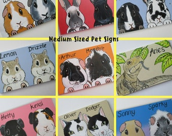 Personalised Pet Sign Medium with cartoon style portrait picture of your animal rabbit guinea pig cat dog goat horse hamster etc