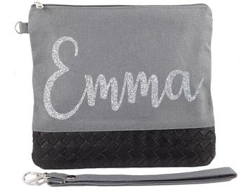 Gray Bag ( Silver Glitter Name ) - Personalised Bride Gift - Maid of Honour Gift - Bridesmaid Gift -Unique Gift for Bridal Party Wedding Bag