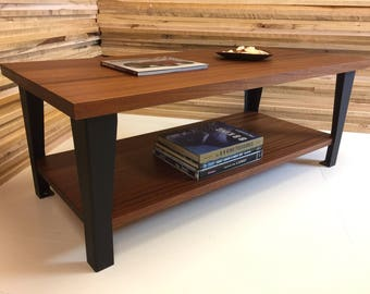 Hudson coffee table featuring sapele mahogany with steel legs. Industrial coffee table. Contemporary coffee table.