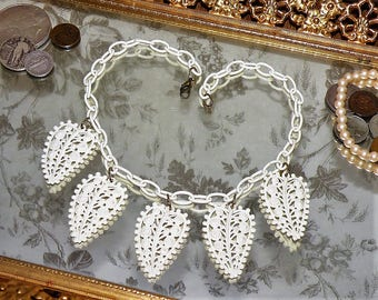 Circa 1930's Art Deco Celluloid Necklace - LOVE LACE - White Heart Filigree Leaves - Early Plastic Bakelite Era Pin Up Girl
