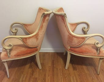 SaLe! CRUSHED VELVET FRENCH Provincial ChairS, Rococo, Baroque, French Country, Romantic Home, PAiRr of Chairs, at Ageless Alchemy
