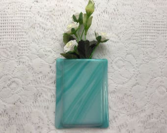 Fused Glass Pocket Vase, Turquoise Aqua Glass Wall Vase, Home Decor