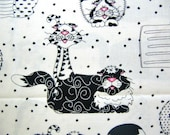 Cotton Quilt Fabric, Caterwauling by Sue Marsh for RJR, Black and White Cats on White, 1 Yard, Destash, DIY Sewing Craft Supply