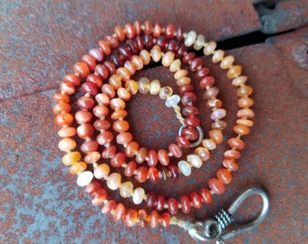 Red ombre fire opal beaded necklace
