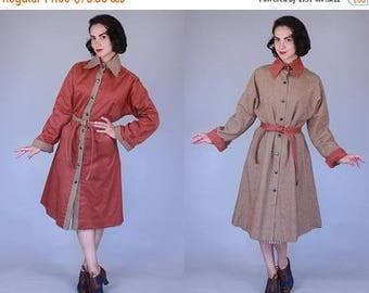 25% OFF 1970s Double Agent trench | vintage 70s herringbone & rust reversible belted coat | medium