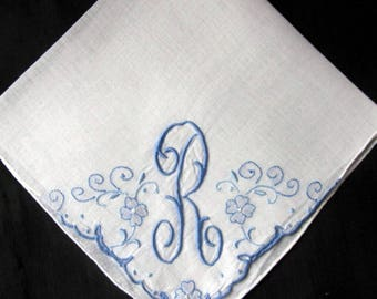 Monogrammed Handkerchief Initial L letter, Gift for Bride from Mother, Initials L, R, H, K or N Blue