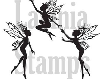 Fairy Stamp, Three Dancing Fairies, Lavinia Stamps, Acrylic Stamp