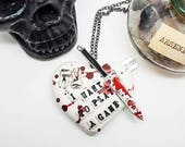 Halloween Saw necklace, Saw movie, Horror movie jewelry, Saw horror heart necklace, I want to play a game