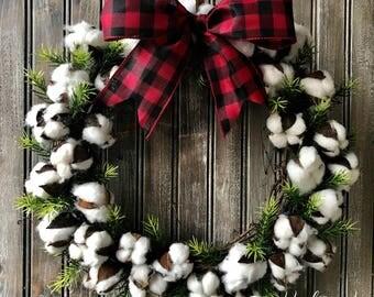 Cotton Boll Wreath,Farmhouse Wreath,Magnolia Inspired Cotton Wreath, Fixer Upper Style Wreath, Cotton Wreath, Buffalo Check, Buffalo Plaid