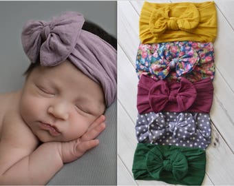Nylon Head Wraps, One size fits all nylon headbands, wide nylon headband, knot nylon head wrap, knot bow headband, Solid and patterns