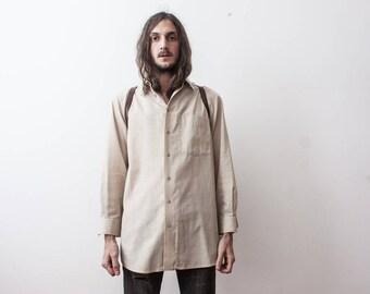Beige Shirt 70s Dress Summer Casual Cream Long Sleeve Shirt Medium Walbusch