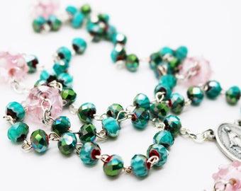 Contemporary Handmade Rosary--Glass Millefiori Beads--Inspirational--Catholic--Baptism Gift--Prayer--Turquoise Red Pink--Art Glass Beads