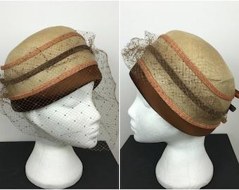 Vintage 1940s Veil Hat - Mitzi Lorenz Of London - Vintage Dress Hat - Lace veil - Bow Detail - 40s Hat - 50s Hat