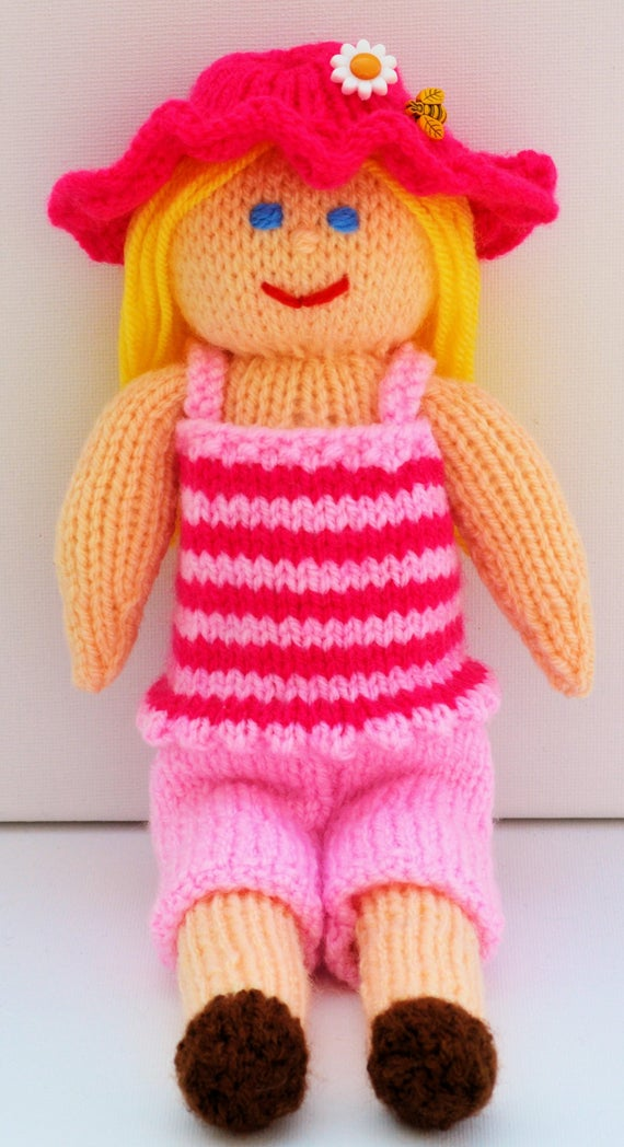 Knitting Patterns For Toy Hats : Summer Doll, Summer Dress, Summer Hat, Knitted Toys, Knit ...