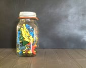 Vintage Mason Jar with Cowboy and Indians Vintage Army Men Little Boy's Room Childs Room