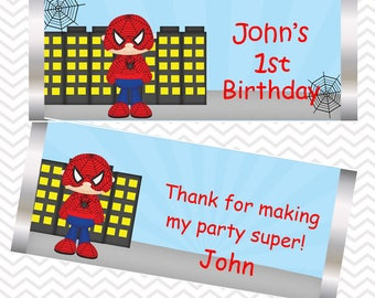 Spiderman - Superhero - Personalized Candy Bar Wrapper, Birthday, Baby Shower