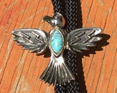 Thunderbird Vintage 1980's Silver Tone and Faux Turquoise Bolo Tie Lariat