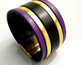 leather cuff purple gold and black with lobster clasp gold