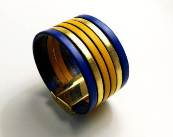 cuff leather cobalt gold and yellow with clasp gold