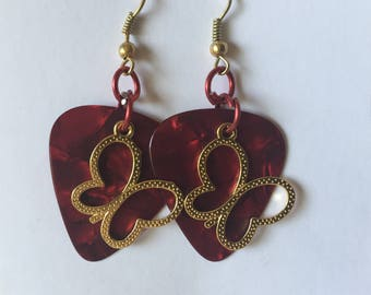 HC Swirling Dark Red Guitar Pick Earrings with Gold Toned Butterfly Pendants