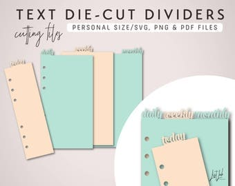 TEXT Tab DIVIDERS and PAGEMARKER for Personal Size Planners – Die Cutting Files - svg, png, pdf