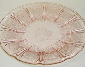 Jeannette Depression Glass Pink CHERRY BLOSSOM 9 Inch Dinner Plate