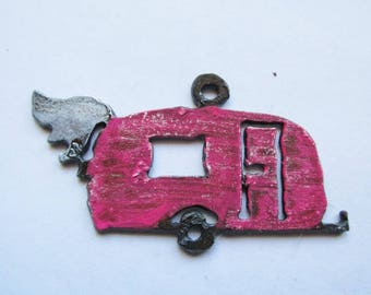 Vintage Camper camp trailer with wing (PINK) -RM175