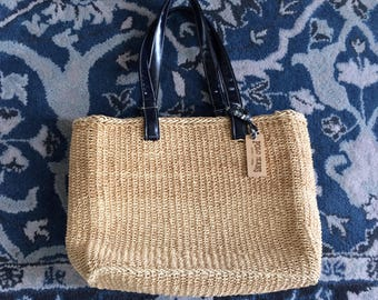 SALE / vintage Polo Jeans Co. straw summer purse / market bag