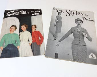 1950s Knitting Pattern Books, Ladies Sweaters, Knitted Suits, New Styles by Beehive, Star Sweaters No 92, Wonderful Vintage Styles