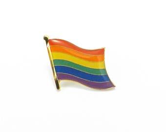 Gay Pride Rainbow Pin, Enamel Pin, Rainbow Flag, Lapel Pin, Rainbow Tie Tack, Love is Love Rainbow Jewelry LGBT Lesbian Backpack Pin