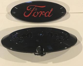 "2011-6 Ford F-150  SERIES oval emblem Custom set,""Black & race red logo""camera emblem and bezel al3z-19h511-a cl34-402a16-bb"
