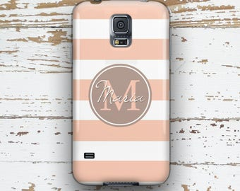 Monogram S5 case, Stripes Samsung S3 case, Pretty Samsung S4 case, Nautical Samsung S6 case, Women's accessories, Tan and pink summer (1301P